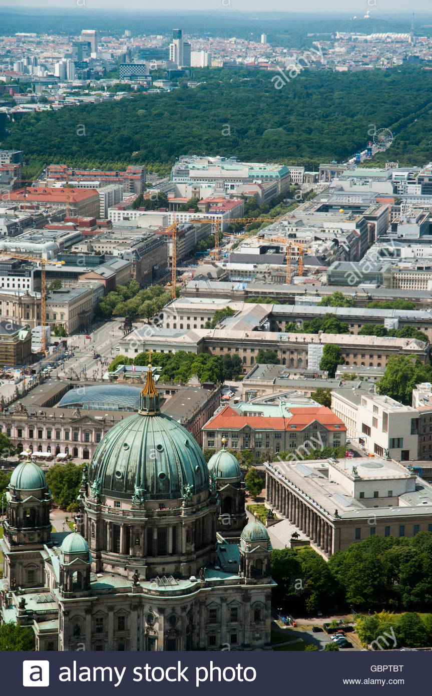 Unter den Linden Berlin, Looking west from the TV Tower down Unter den Linden, Berlin, with ...