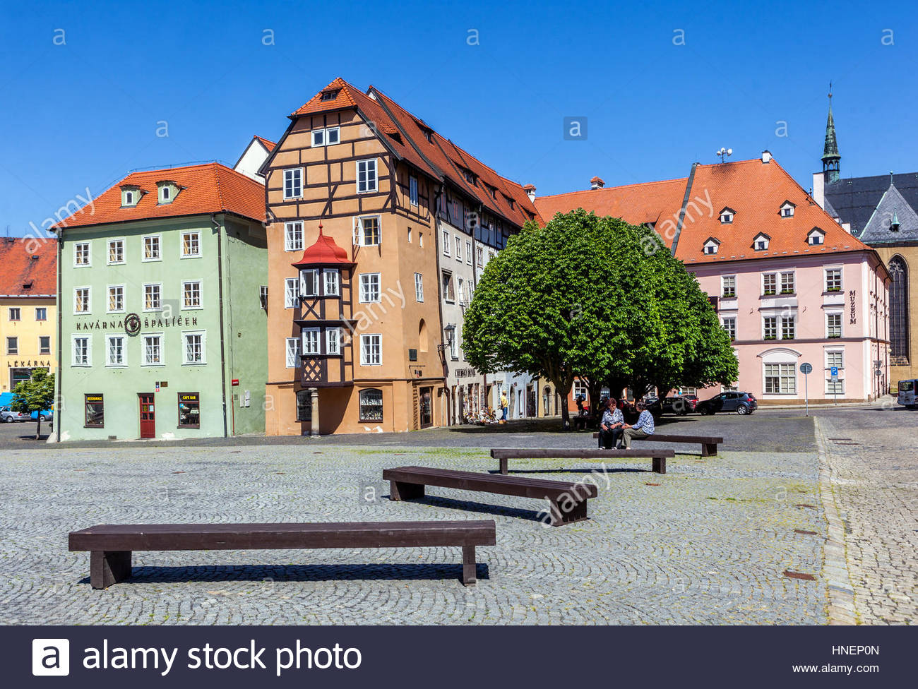 U.S. General George S. Patton Memorial Western Bohemia, Historic old town, Spalicek, Main Square, Cheb, West Bohemia ...