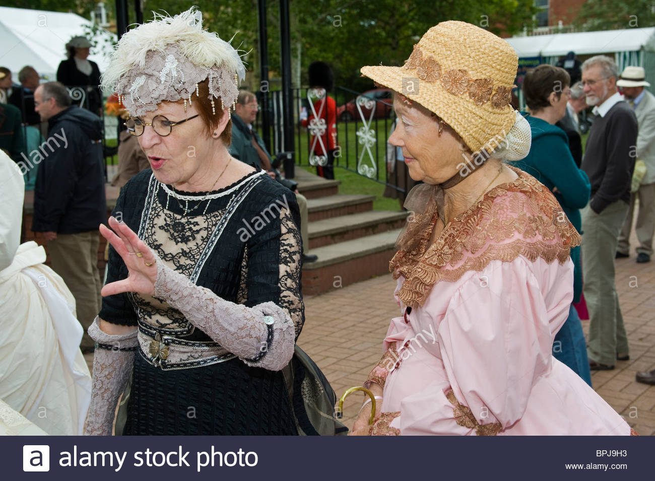 Victorian Festival Mid-Wales, Women in period costume chatting at the annual Victorian Festival ...