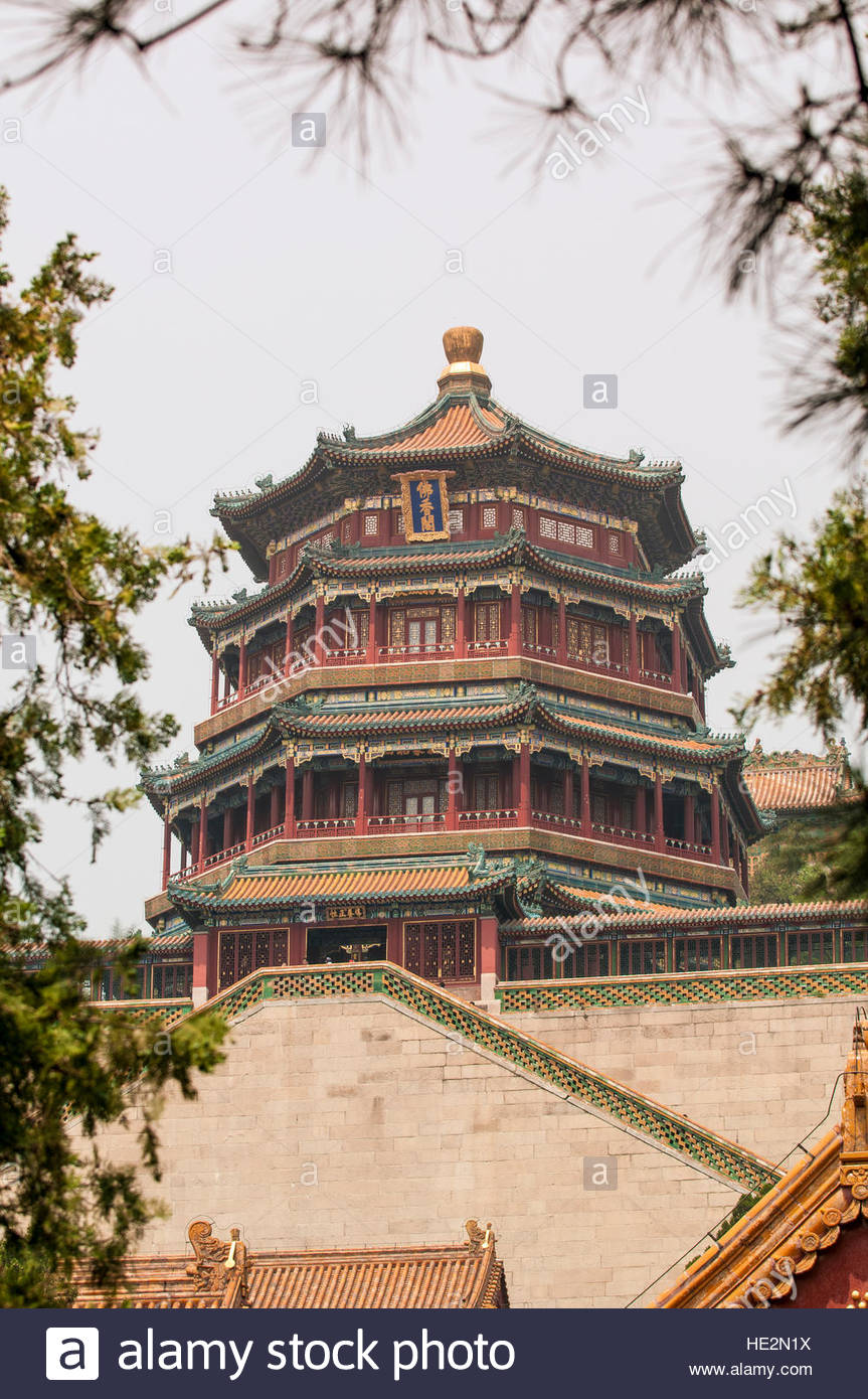 Water Cube Běijīng, Tower of Buddhist Incense pagoda temple on Longevity Hill in the ...
