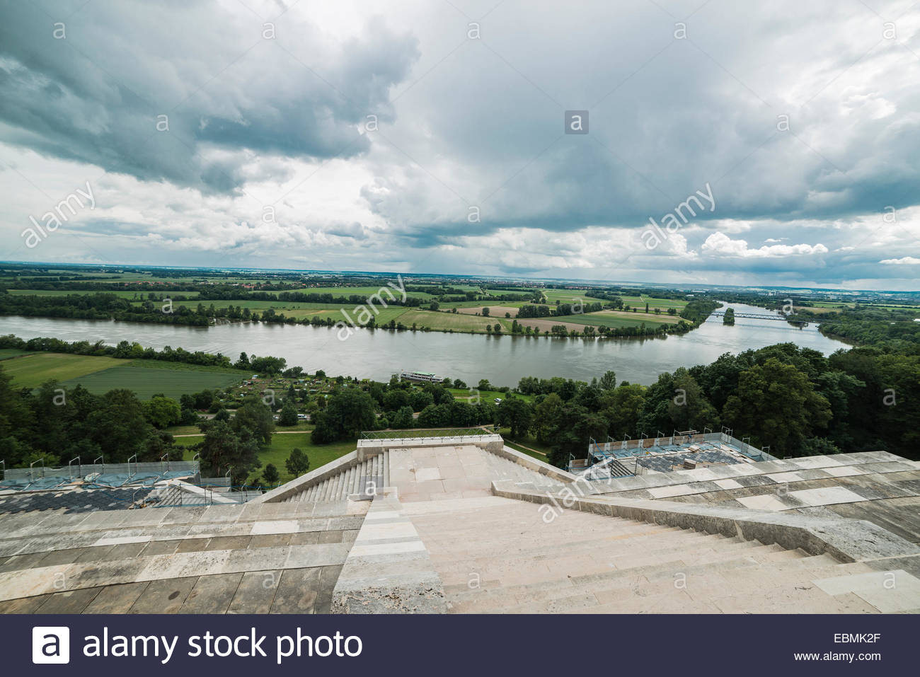 Weltenburg Abbey  Franconia and the German Danube, View from the Walhalla memorial or Valhalla temple across the ...