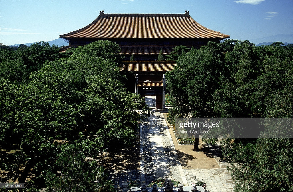 West Palace Gate Běijīng, Exterior of the Ming Tombs, in the outskirts of Beijing. The ...