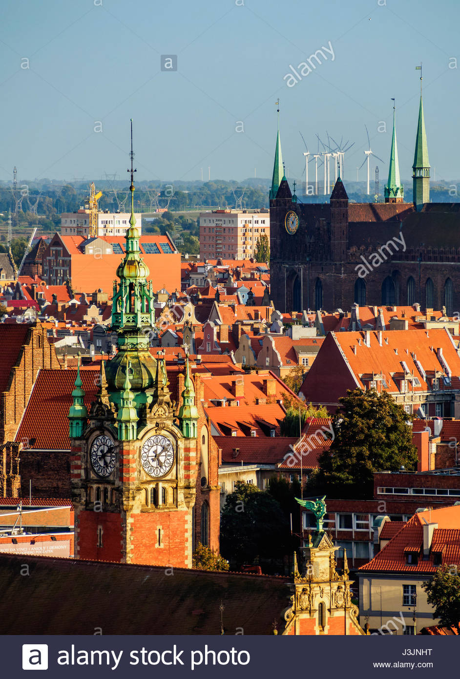 Brama Wyżynna The Baltic Coast and Pomerania, Poland, Pomeranian Voivodeship, Gdansk, Old Town, Elevated view ...
