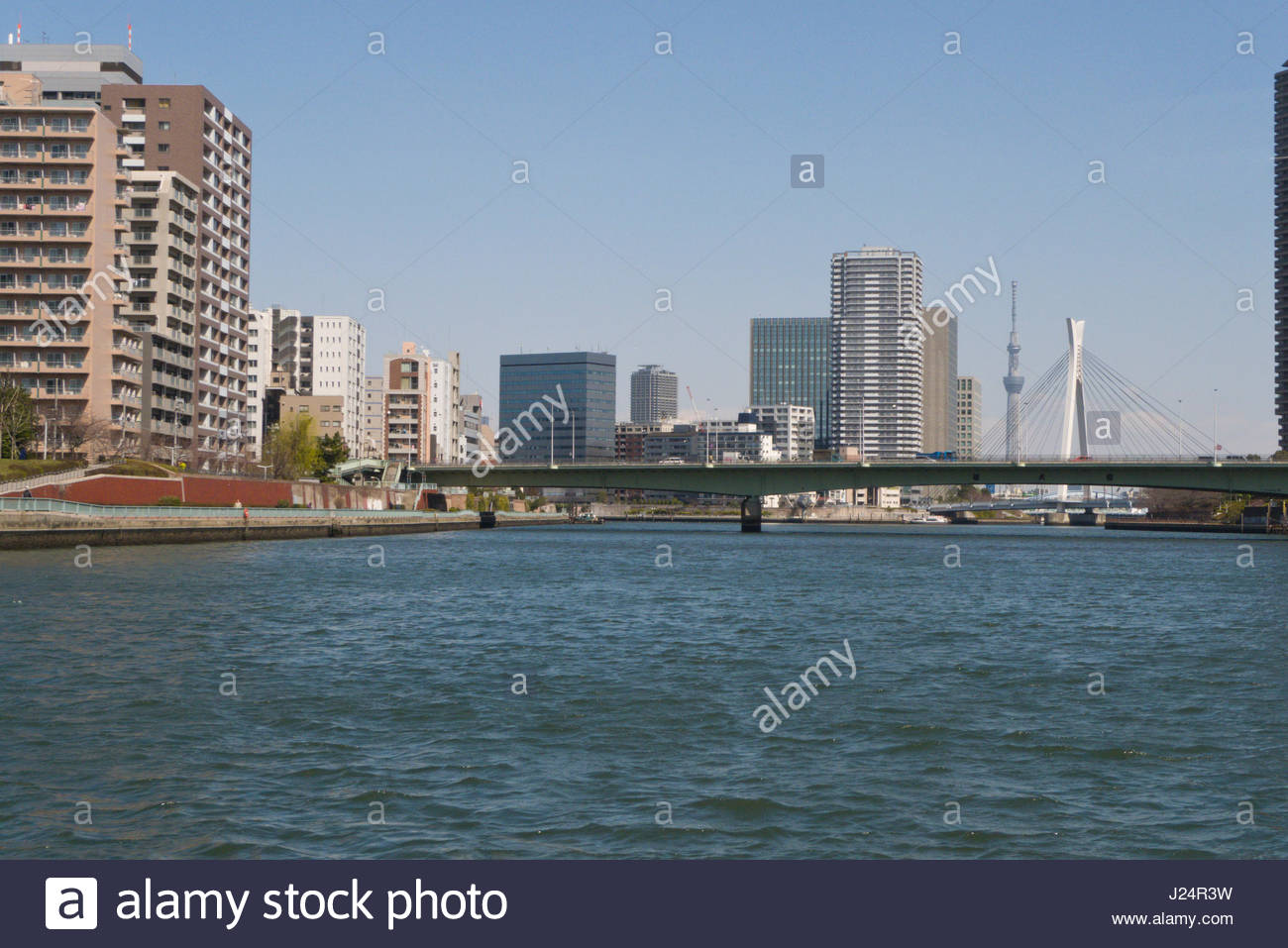 Yushima Seido Tokyo, Chuo-Ohashi Bridge behind Great Tsukuda Bridge seen from the Stock ...