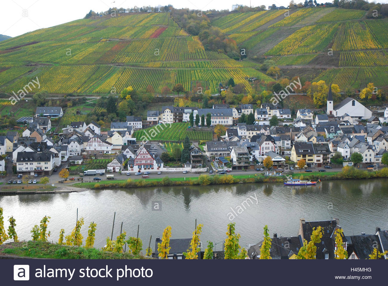 Zell The Rhineland, Germany, Rhineland-Palatinate, Zell, the Moselle, Zell-Kaimt, town ...