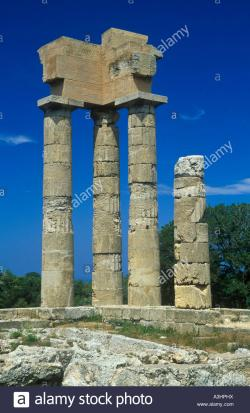 Acropolis of Rhodes Rhodes Town | remains of the Acropolis at Rhodes Town Stock Photo, Royalty Free ...
