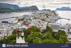 Andenes Fyr Andenes | Norway. Aerial european rural city view. Alesund. Kniven viewpoint ...
