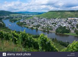 Burg Landshut The Rhineland | View from ruine of Burg Landshut castle to Moselle river to Kues ...