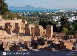 Byrsa Hill Tunis | Carthage's Punic Quarter ruins on Byrsa Hill overlooking Bay of ...