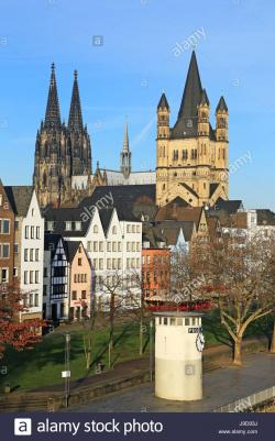 Gross St. Martin The Rhineland | Bank of River Rhine with Gross St. Martin's Church and Cathedral ...