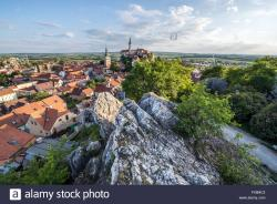 Jewish Cemetery Mikulov   Aerial view from Goat Hill on Mikulov Old Town with tower of Saint ...
