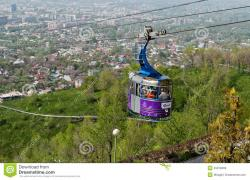 Kök-Töbe Cable Car Almaty | Cable Car Line To Kok-Tobe Mountain In Almaty Editorial Stock ...