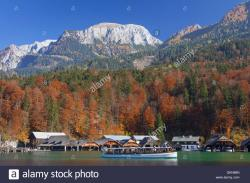 Berchtesgaden National Park The Bavarian Alps | Tourist boat on Königssee / Kings lake in autumn, Berchtesgaden ...
