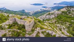 Kosmač Fortress Central Montenegro | Kosmac fortress in Montenegro, above Becici and Budva Stock Photo ...