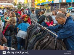 Lehmann Maupin New York City   New York City, USA, People Shopping Vintage Clothing Stall, at the ...
