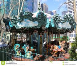 Lever House New York City   Le Carrousel In Bryant Park, Midtown Manhattan Editorial Image ...
