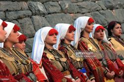 Macedonian Village Around Skopje | Macedonian girls in traditional dresses Pictures | Getty Images