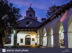 Marie Hitchcock Puppet Theater San Diego | View of the Junipero Serra Museum building at night. Presidio Park ...