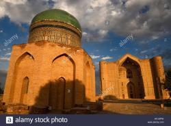 Mausoleum of Rabigha-Sultan Begum Turkestan | Mausoleums of Rabigha Sultan Begum with dome and Khoja Ahmed ...