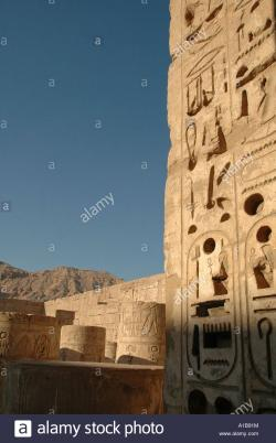 Medinet Habu The Nile Valley and Luxor | Column ruins at Medinet Habu temple of Ramses III at the Nile ...