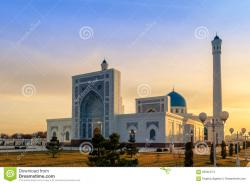 Minor Mosque Tashkent | Big White Mosque Minor In Tashkent At Sunset, Uzbekistan Stock ...