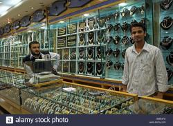 Mutrah Gold Souq Muscat   Inside jewellery shop in the Gold souq of Mutrah old Muscat Oman ...