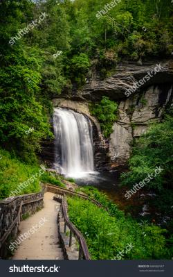 Oconaluftee Indian Village The North Carolina Mountains | Silky Smooth Cascades Looking Glass Falls Stock Photo 668965957 ...