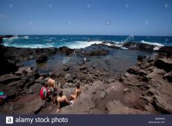 Paliʻokulani Overlook Ocean View & Around | Bellstone tidal pools,aka Olivine Pools, Maui, Hawaii Stock Photo ...