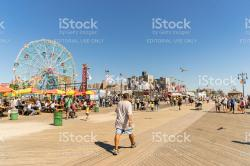 Rockaways New York City | People Walking Long Riegelmann Boardwalk stock photo 509090430 ...