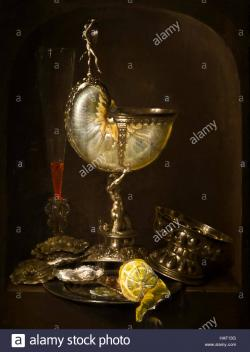 Rockoxhuis Antwerp | Still Life with Nautilus cup, wine glass, oysters and lemon Stock ...