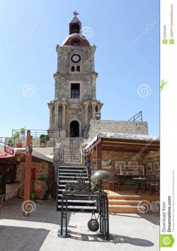 Roloi Clock Tower Rhodes Town | Roloi Clock Tower In Rhodes Old Town. Greece. Editorial Photo ...