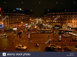 Rue Montorgueil Paris | Place du 18 juin 1940 in Paris at night Stock Photo, Royalty Free ...