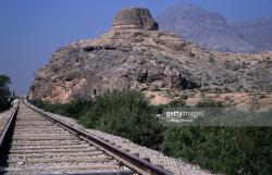 Sphola Stupa The Khyber Pass | Railway Tracks With Sphola Stupa Ghandaran Ruin Stock Photo ...