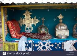 St Mary of Zion Church Museum Aksum | Crowns of former Ethiopian rulers and Emperors tiny steel box ...