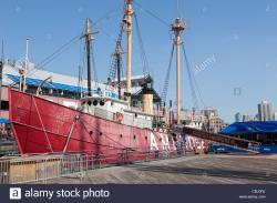 St Paul's Chapel New York City | Ambrose light ship docked at the South Street Seaport Museum in ...