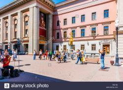 Vakhtangov Theater Moscow | Vakhtangov Theater and fountain Turandot in Arbat street of Moscow ...