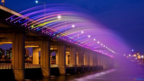 Banpo Bridge Rainbow Fountain Seoul